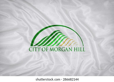 Morgan Hill ,California flag on fabric texture,retro vintage style