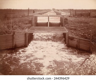 The Morgan Irrigation Canal at Fort Morgan, Colorado. Dug in 1884, the canal irrigated approximately 25,000 acres with water from the South Platte River. P. Charles McClure photo, c. 1895.