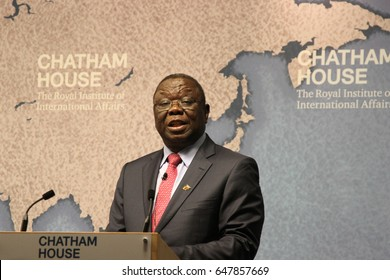 Morgan Tsvangirai, former prime minister of Zimbabwe and leader of the Movement for Democratic Change party, gives a speech at Chatham House think-tank in London on 25 July 2014