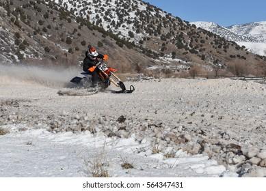 Motobike Travelers Ride On Mountain Pass Stock Photo (Edit