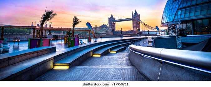 Morgan's lane near Tower Bridge in London at colorful sunrise, UK