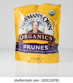 MORGANTOWN, WV - 22 FEBRUARY 2018: Newman's Own Organics Prunes