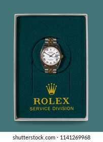MORGANTOWN, WV - 23 JULY 2018: Mens Rolex gold watch in box returned from Service Division