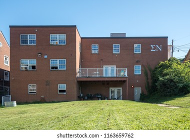 MORGANTOWN, WV - 24 AUGUST 2018: Sigma Nu house at West Virginia University in Morgantown WV