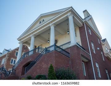 MORGANTOWN, WV - 24 AUGUST 2018: Kappa Alpha fraternity at West Virginia University in Morgantown WV