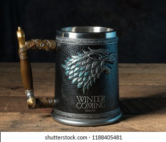MORGANTOWN, WV - 25 September 2018: Official authorized tankard from HBO Series the Game of Thrones on dark wood background