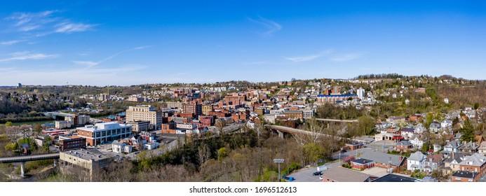 Morgantown, WV - 6 April 2020: Aerial drone panoramic shot of the downtown area of Morgantown West Virginia