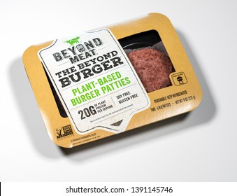 MORGANTOWN, WV - 6 MAY 2019: Packaging for Beyond Meat Beyond Burgers on white background