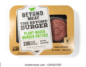 MORGANTOWN, WV - 6 MAY 2019: Packaging for Beyond Meat Beyond Burgers isolated on white background