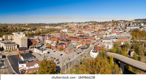 Morgantown, WV - 7 November 2020: Aerial drone panoramic shot of the downtown area of Morgantown West Virginia