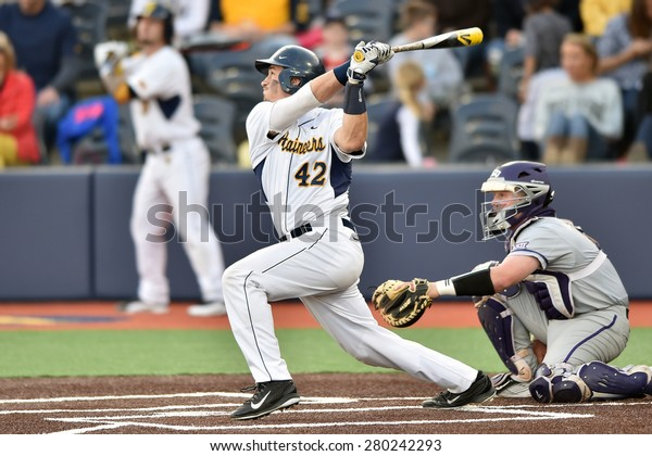 MORGANTOWN, WV - MAY 1: West Virginia catcher Ray Guerinni (42) follows through on his swing during a Big 12 conference baseball game May 1, 2015 in Morgantown, WV.