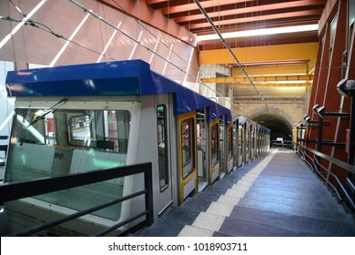 Morgen station Montesanto cable railway Vomero quarter Naples Campania Italy.