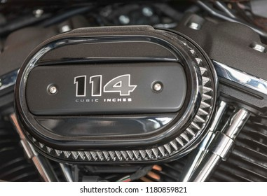 Morges, SWITZERLAND - September 16, 2018 : Flat cylinder of a Harley Davidson motorcycle that is presented at the Paillote Festival 2018