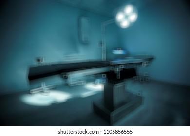 morgue blurred background / concept medicine, background in modern medical center, surgical table in morgue