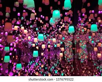 Mori Building Digital of Art Museum, Teamlab Borderless, Fascinating and Amazing in technology of Art, shot of the Lanterns room, located in Odaiba; Tokyo, Japan on April 19, 2019