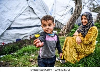 Moria, Lesvos, Greece, 24-February-2016: Refugee camp Moria on Lesvos. A hotspot where refugees register.