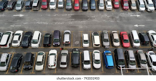 MORIB, MALAYSIA - JANUARY 1, 2018: Aerial view of vehicles parked in a car park