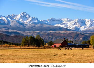 Moring View Of Ranch with Snowcapped Mountain Ranges, Telluride, USA
