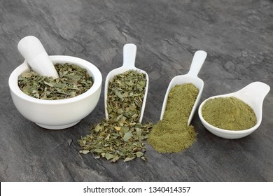 Moringa oliefera herb leaf and powder  Used to treat anaemia,  rheumatism, cancer, diarreah, diabetes, constipation, weight loss, benefits the skin & hair and has many other health benefits.