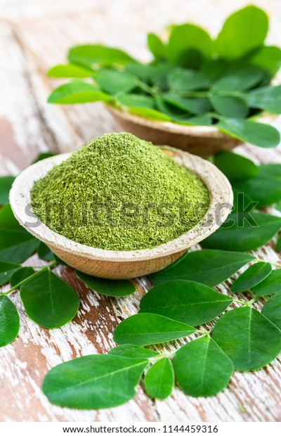 Moringa Powder Moringa Oleifera Coconut Bowl Stock Photo