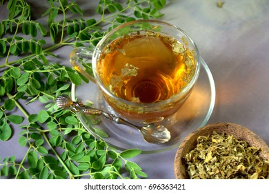 Moringa tea with dark background