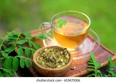 Moringa tea health drinks with blur background
