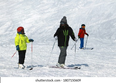 MORIOKA-JAPAN-FEBRUARY 16 :  The Ski player on the ski resort in winter season, February 16, 2019 Morioka Japan.