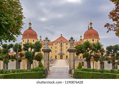 MORITZBURG, GERMANY - AUGUST 21: Moritzburg castle in Moritzburg, Germnay on August 21, 2018. The Baroque castle was built in the 16th century by Duke Moritz of Saxony.