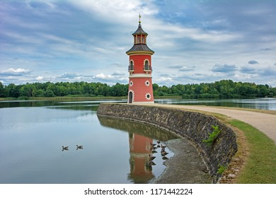 MORITZBURG, GERMANY - AUGUST 21: Lighthouse in the public park of the castle of  Moritzburg, Germnay on August 21, 2018.