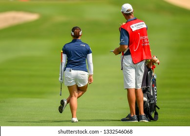 Moriya Jutanugarn of Thailand with caddy in action during the Honda LPGA Thailand 2019 Round 2 at Siam Country Club, Old Course on February 22, 2019 in Chonburi, Thailand.