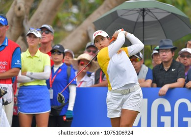 Moriya Jutanugarn of Thailand in Honda LPGA Thailand 2018 at Siam Country Club, Old Course on February 25, 2018 in Pattaya Chonburi, Thailand.