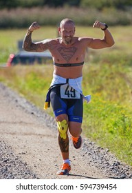 MORKO SWEDEN August 27, 2016.. Participants in the marathon race at the island Morko in Sweden.