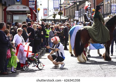 Morley, Leeds, United Kingdom 23rd April 2017 St George's Day parade through the streets of Morley near Leeds - Editorial