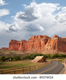 Mormon Barn and Sandstone Formation, Capital Reef National Park