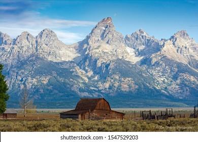 Mormon barn sits below the Tetons
