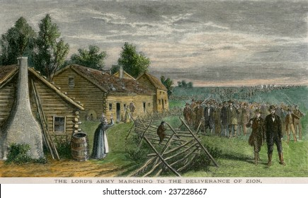 Mormon pioneers and wagons on the 1300-mile-long 'Mormon Trail' from Nauvoo Illinois.