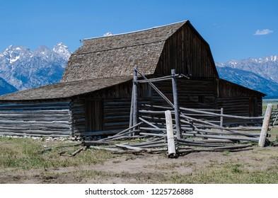 Mormon Row barn in Jackson Wyoming. Famous T.A. Moulton Barn