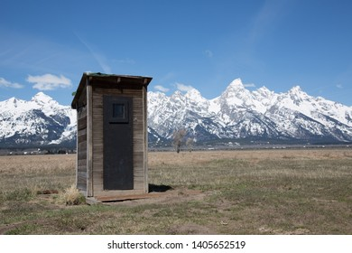 Mormon Row in Grand Teton National Park featuring an outhouse. Taken in mid-May in the afternoon.