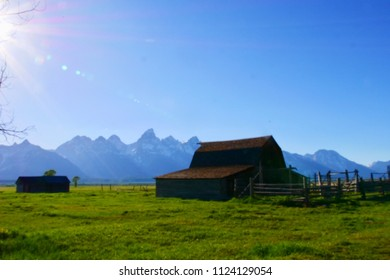 Mormon row the historic barn at Grand Teton National Park, Wyoming, USA