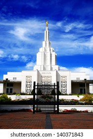 Mormon Temple in Idaho Falls with blue sky and clouds in background
