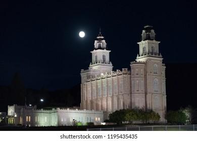Mormon temple at night