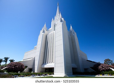 Mormon temple on a cloudless sunny day