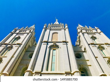 The Mormon Temple on Temple Square in downtown Salt Lake City on summer day