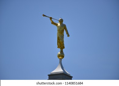 Mormons religious symbol Angel Moroni on top of a church
