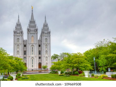 Mormons' Temple in Salt Lake City, UT in the evening