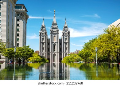 Mormons Temple in Salt Lake City, UT on a sunny day