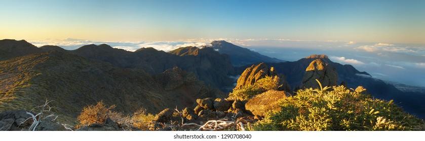 Morning above the crater Caldera de Taburiente, Island of La Palma, Canary Islands, Spain