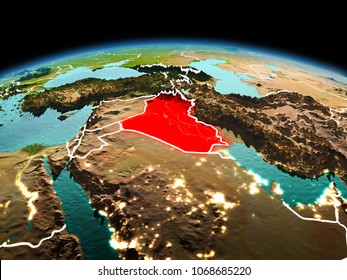 Morning above Iraq highlighted in red on model of planet Earth in space with visible border lines and city lights. 3D illustration. Elements of this image furnished by NASA.