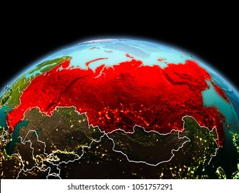 Morning above Russia highlighted in red on model of planet Earth in space with visible border lines and city lights. 3D illustration. Elements of this image furnished by NASA.