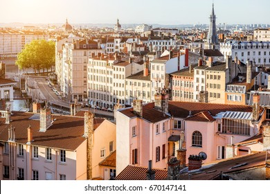 Morning aerial cityscape view with beautiful old buildings in Lyon city in France